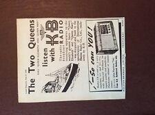g1e 1948 ephemera advert r m s queen elizabeth k b radio