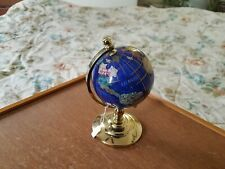 Precious Stones Lapis Blue world Globe with 14K Gold,Mother of Pearl,Abalone