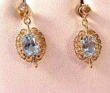 2.9CT AQUAMARINE .30CT DIAMOND FILIGREE DROP DANGLE VINTAGE EARRINGS 14K GOLD3.2