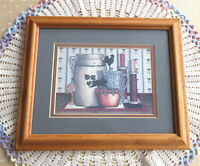 Vintage PAT PEARSON Framed Print Country Prim Farmhouse Apples Rooster Cat Rare