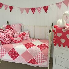 6pc Scarlet Shabby Chic Baby Girls Cot Crib Quilt  Patchwork Quilted Floral Set