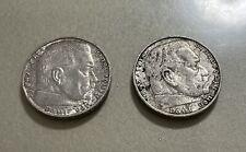 2 PIÈCES 2 REICHS MARK ARGENT ANCIENNE PIECES MONNAIES WW2 ANNÉE 1938 ET 1939