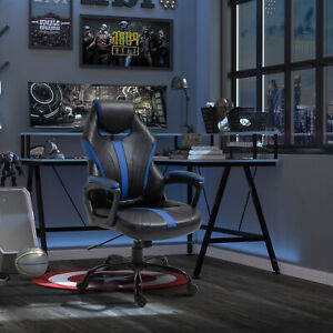 Vinsetto Gaming Chair Swivel Home Office Racing Gamer Desk Chair, Black Blue