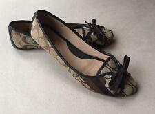 COACH Brown Tan CC Logo Cloth & Leather JANELLE Bow Toe Flat Shoes Sz 9B EUC!