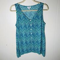 J.Jill Women's green blue. chevron print button front sleeveless tank top size s