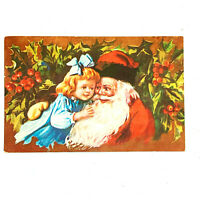 Vintage Postcard Santa St.Nick Saint Nicholas Father Christmas Girl Hug Hugging