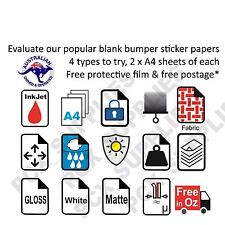 Blank White Bumper Sicker Kit-  4 types of inkjet adhesive sheets x 2 Free Post