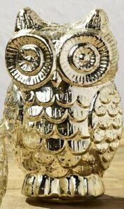 Silver Mercury Glass Owl - Home Accent Decor