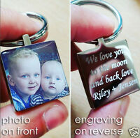 Domed Photo Personalised Metal Keyring, Engraving on back, Christmas Gift