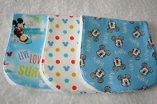 Set of 3 Burp Cloths Mickeys Blue & White Handmade
