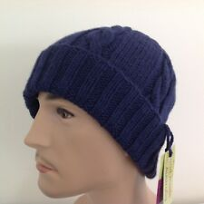 HAND KNITTED  MEN  NAVY  BLUE  ARAN WOOL-ALPACA  CABLED  PANEL BEANIE HAT