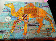 Queen Camel Indian Embroidered Bedspread Bedding, Indian Bedspread, Bed Cover
