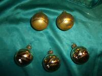~ 5 alte Christbaumkugeln Glas silber gold Weihnachtskugeln Christbaumschmuck  ~