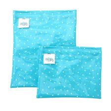 Snack Pocket Set Reusable Lunch Bags Aqua Blue Polka Dots Laminated cotton