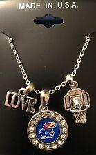 "New Kansas Jayhawks Love Basketball 18"" Necklace,NCAA,Charm,Gift for Her Mom"