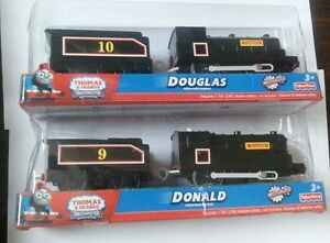 TRACKMASTER THOMAS BATTERY MOTORIZED TOY TRAIN- DOUGLAS + DONALD & TENDER SET