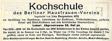 Lina Morgenstern Berlin KOCHSCHULE Historische Reklame von 1896