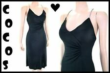 Vtg 80s Climax Rhinestone Strap Side Ruched Jersey Party Dress S