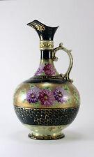 Vintage Victorian Porcelain Gilded Handled Gorgeous Floral Vase Pitcher Ewer