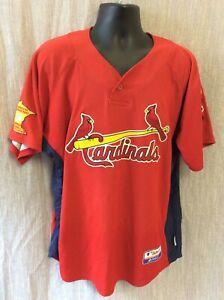 Majestic Vintage St.Louis Cardinals 8 Sewn Jersey L Button Down MN Senior men's