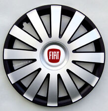 "Full set silver/black 14"" wheel trims, hubcaps to fit FIAT 500"