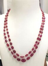 Ebay 14K Gold 100% Natural Real RUBY Faceted Tumble Gemstone Bead Necklace 160CT