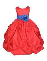 RED JUNIOR TAFFETA WEDDING BRIDESMAID FLOWER GIRL DRESS 6M 9M 2/3T 4/5 5T 6 8 10