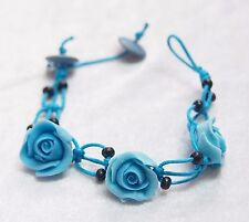 Bracelet Blue Rose Clay Wedding Bridal Beach Party Flower Floral Adjustable 7.5""
