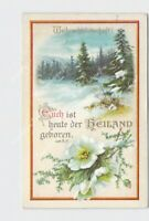 PPC POSTCARD CHRISTMAS MESSAGE GERMAN SNOW COVERED LANDSCAPE FLOWERS TREES