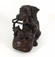 Antique Black Forest Inkwell, Dachshund Dog & Fox Cubs, Glass Eyes, c1900