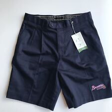 Men's NWT Atlanta Braves baseball MLB pleated front navy shorts size 32