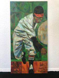 🔥 RARE Important Antique Mid Century Modern Cubist Oil Painting Armando Barrios