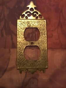 Vintage RARE ! Japan Asian solid brass outlet wall plate cover