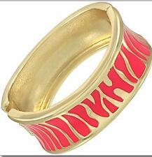 Pink Gold Bangle Bracelet Zebra Animal Print  Enamel Metal Hinged Women Fashion