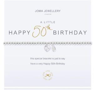 Joma Jewellery A Little Happy 50th Birthday Bracelet & Gift Bag