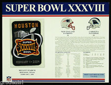 SUPER BOWL 38 PATRIOTS PANTHERS Willabee Ward OFFICIAL NFL SB XXXVIII PATCH CARD