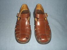 "BALLY ""GERENZANO  brown leather ""fishermen"" style sandals w/gold-tone buckle 9 D"
