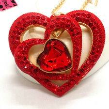 Hot Betsey Johnson Red Crystal Bling Three Hearts Love Pendant  Chain Necklace