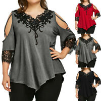 Women Cold Shoulder Loose Tops Criss Cross Short Sleeve T-Shirt Blouse Plus Size