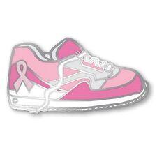 Pink Ribbon Tennis Shoe Walking Sneaker Lapel Pin Breast Cancer Silver Plated