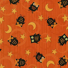 Wilmington Scaredy Cat 67511 895 Owls and Moons on Orange - SALE