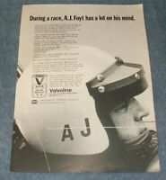"1972 Valvoline Motor Oil Vintage Ad ""During a Race, A.J. Foyt Has a Lot..."""
