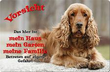 COCKER Spaniel - A4 Metall Warnschild Hundeschild SCHILD Türschild - CKS 12 T1