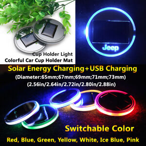 1pcs Solar Energy Coaster Car LED Light Lamp Accessories For Jeep Lights Parts
