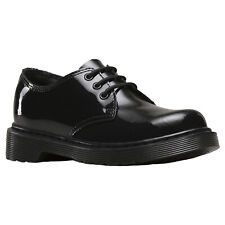 Dr.Martens Everley 3-Eyelet Black Kids Patent Lamper Leather Derby Shoes