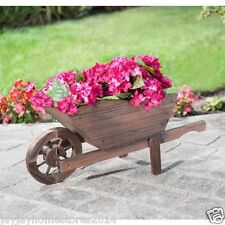 Solid Wood Construction Burntwood Wooden Wheelbarrow Planter.