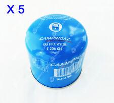 KIT 5 PEZZI CARTUCCIA CAMPINGAZ GAS BUTANO 190g C206 GLS RICARICA FORNELLO LOCK
