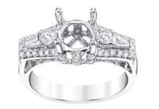 Diamond Engagement Ring Setting 18k White Gold 0.75ct VS1 3 Stone