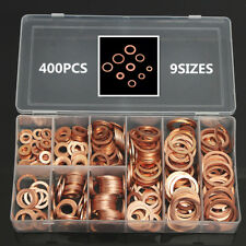 400PCS Solid Copper Washers Flat Ring Sump Plug Oil Seal Gasket Assorted w/ Box