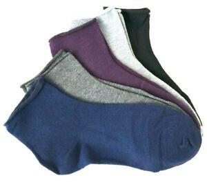 5 Paar Damen Sneaker Diabetiker Kurz Socken ohne Gummibund Strümpfe #97